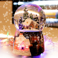 2018 New Carrossel Free Shipping Snow House Crystal Ball Music Box Automatic Spinning To Send Birthday Gift A Undertakes Girls