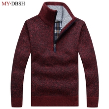 New Arrival 2018 Autumn Winter Pullovers Men's Sweater Men Solid Stand Collar Wool Mens Sweaters Thick Plaid Knitted Sweater
