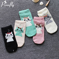 cute Cartoon cat socks female New Pattern 2017 women Spring Summer  Antenna Cat Woman Boat Full Cotton Socks 5pairs/lot
