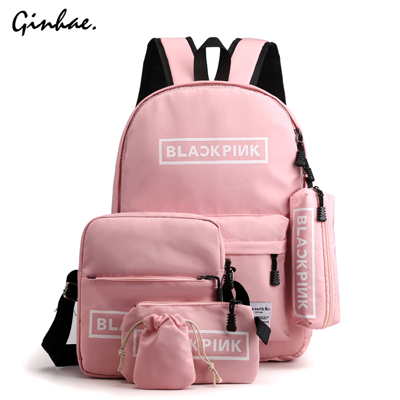 Preppy Style Nylon Letter Crossbody Bag Women 5pcs Waterproof Backpack Large Capacity Travel Set Bag Teenager School Backpack