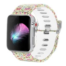 Bemorcabo Silicone Printed Flower Watch Band Bracelet for Apple Watches 3 2 1 Series 38mm 42mm Replacement Strap for Apple Watch(China)