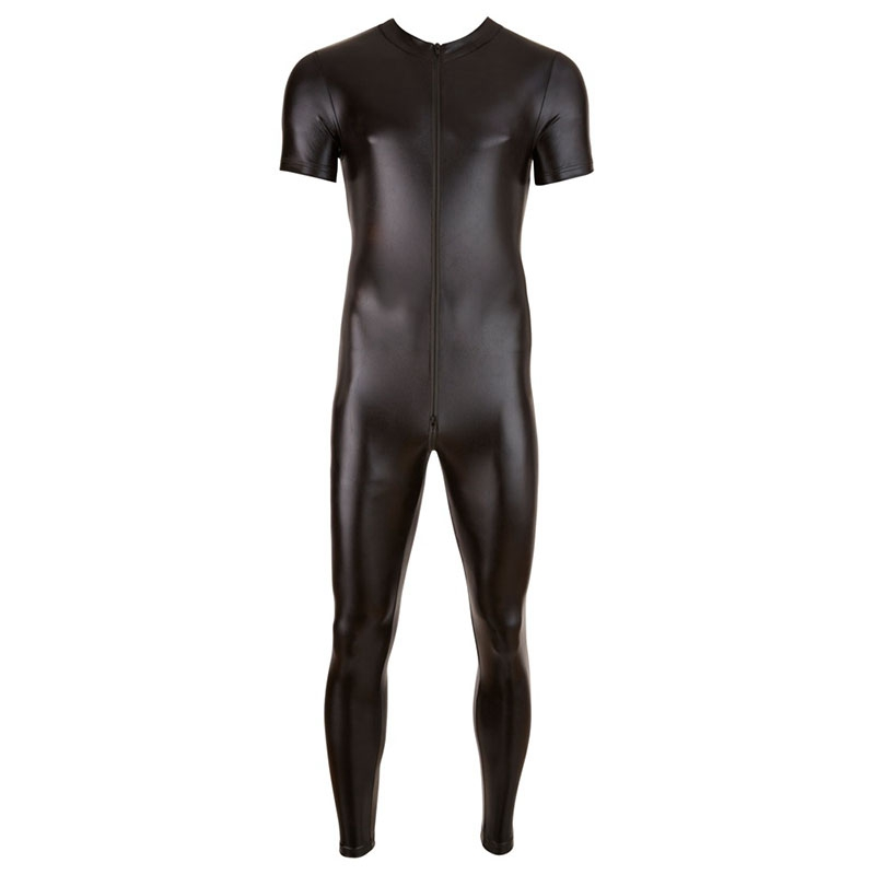 Men wetlook Faux Leather Double zipper Open Crotch pvc lingerie bodysuit gay Hot Lingerie Latex Catsuit Fetish Wear Sexy Costume in Teddies Bodysuits from Novelty Special Use