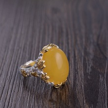 Anillos de lujo de Plata de Ley 925 auténtica para mujer, cera de abejas Natural de piedra preciosa, joyería fina elegante chapada en oro