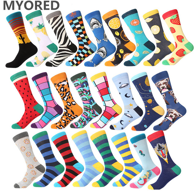 MYORED mens street cacaul crew socks stripes womens mens colorful fruit cartoon animal combed cotton funny wedding gift socks