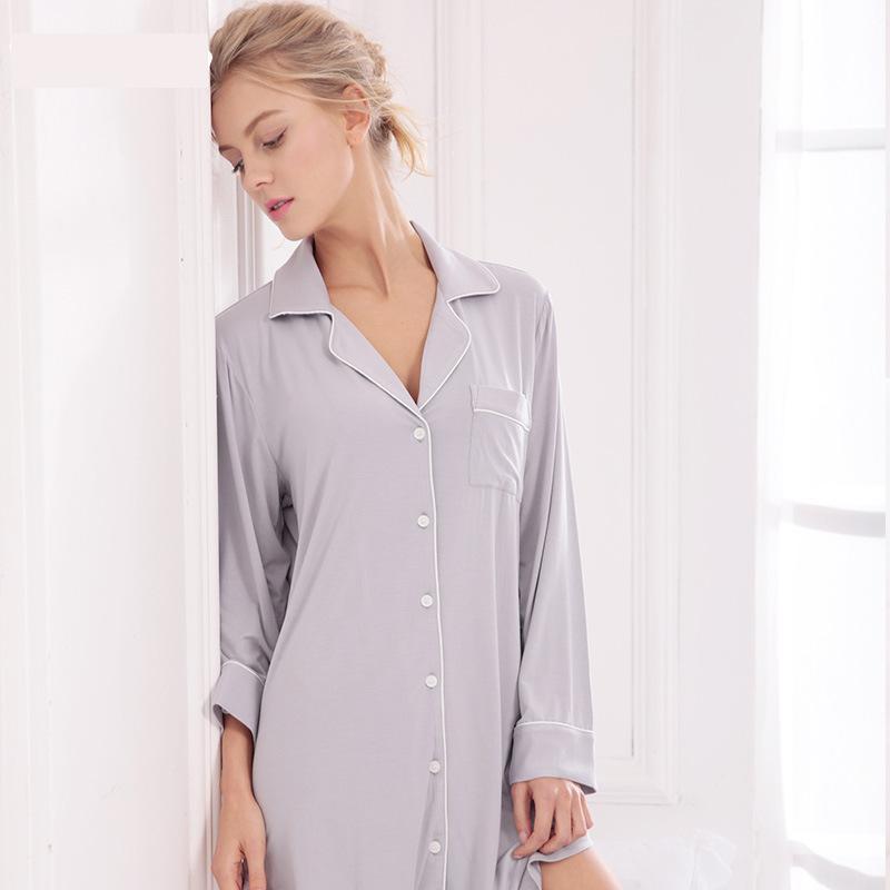 Sale Sleepwear Women Nightwear  Modal Nightshirt Solid Intimate Lingerie Casual Home Wear