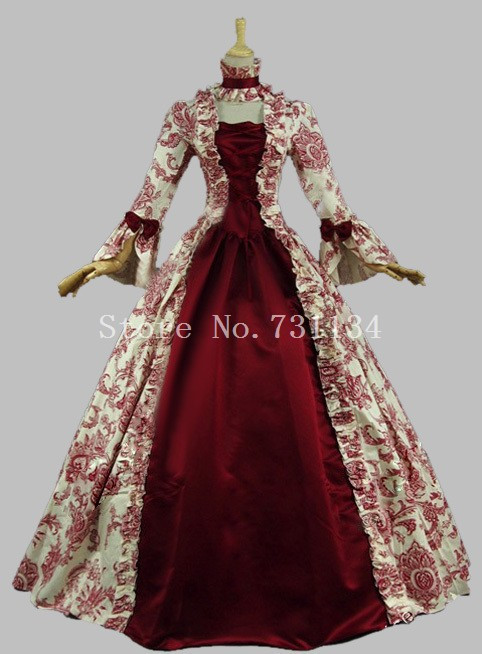 Best Seller Vintage Printed Renaissance Medieval Period Dress18th Century Marie Antoinette Dress Masquerade Ball Gown Vestido