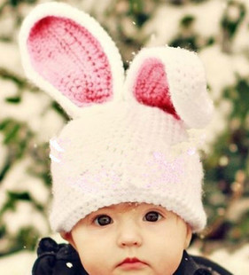 baby hats Super lovely infants and young children cartoon bunny ears large long one hundred days by hand wool hat baby pictures
