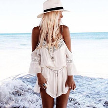 New Fashion Womens 2016 Summer Off the Shoulder Rompers Lace Loose Overalls V-Neck Sexy Chiffon Beach Jumpsuits Plus Size