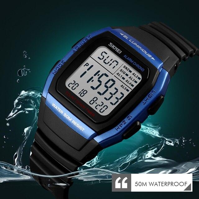 SKMEI Moda Relógios Homens Esportes Relógio Digital de Alarme À Prova D' Água Homem de Pulso Relógio Eletrônico Homens Relogio masculino