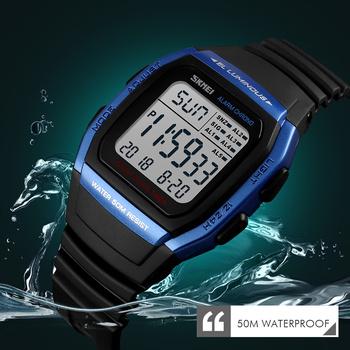 SKMEI modne męskie zegarki cyfrowy zegarek sportowy wodoodporny Alarm człowiek zegar elektroniczny na rękę mężczyźni Relogio Masculino tanie i dobre opinie Z tworzywa sztucznego 24cm 5Bar Klamra ROUND 18mm 13mm Żywica Auto data Odporny na wstrząsy Wyświetlacz tydzień Odporne na wodę