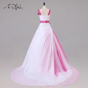 Image 2 - Jiayigong 새로운 도착 웨딩 드레스 민소매 페르시 아플리케 a 라인 tulle과 Taffeta 웨딩 드레스 신부 드레스