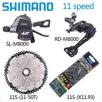 Shimano XT M8000 6pcs bike bicycle mtb 11 speed kit Groupset RD M8000 Shifter with cassette WUZEI KMC chain 11 46T 11 50T