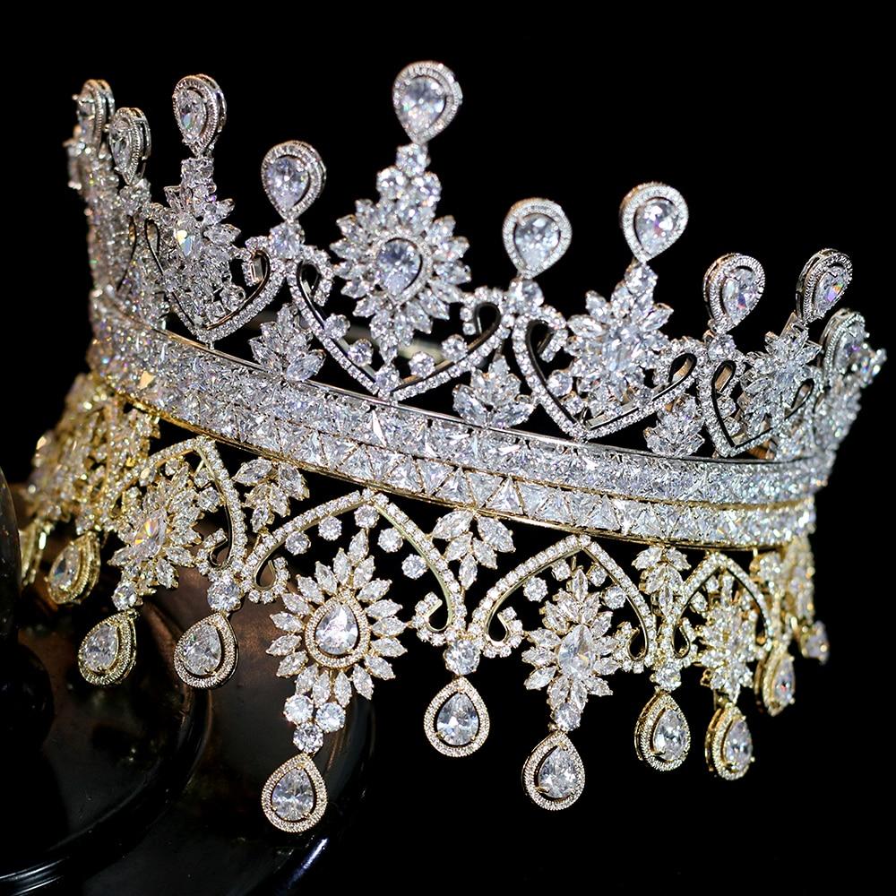 new luxury big shape women Bridal Wedding Tiaras Coroa De Noiva sparks Tiaras and crown headband