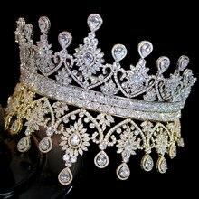 جديد فاخر شكل كبير النساء الزفاف تيجان كورو دي Noiva شرارة التيجان و عقال للرأس على شكل تاج إكسسوارات الشعر