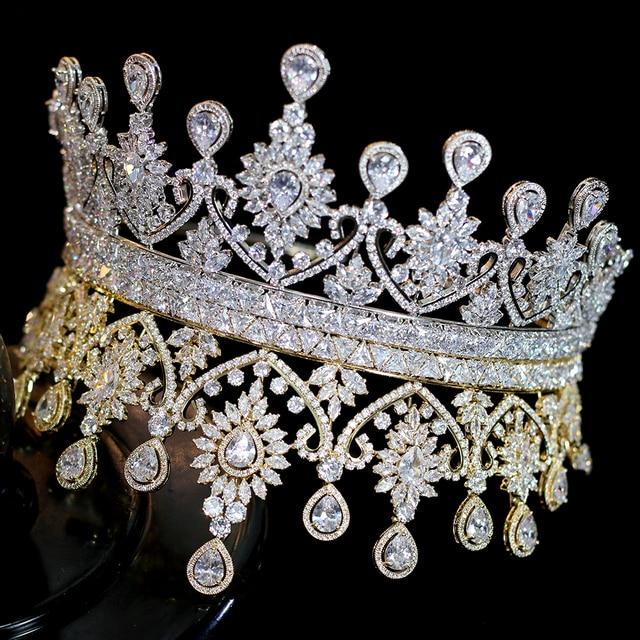 Nuevas Tiaras De boda De lujo para mujer, forma grande, corona, accesorios para el cabello
