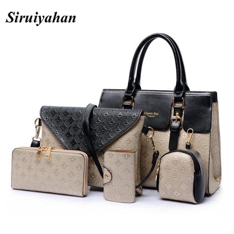 5Piece/Set 2018 New Women Bags Leather Handbags Fashion Shoulder Bag Female Purse Ladies Crossbody Designer Brand Bolsa Feminina brand designer large capacity ladies brown black beige casual tote shoulder bag handbags for women lady female bolsa feminina