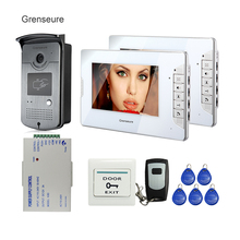 FREE SHIPPING Brand New Wired 7″ Video Door Phone Intercom System 1 Night Vison RFID Access Camera + 2 White Monitor In Stock