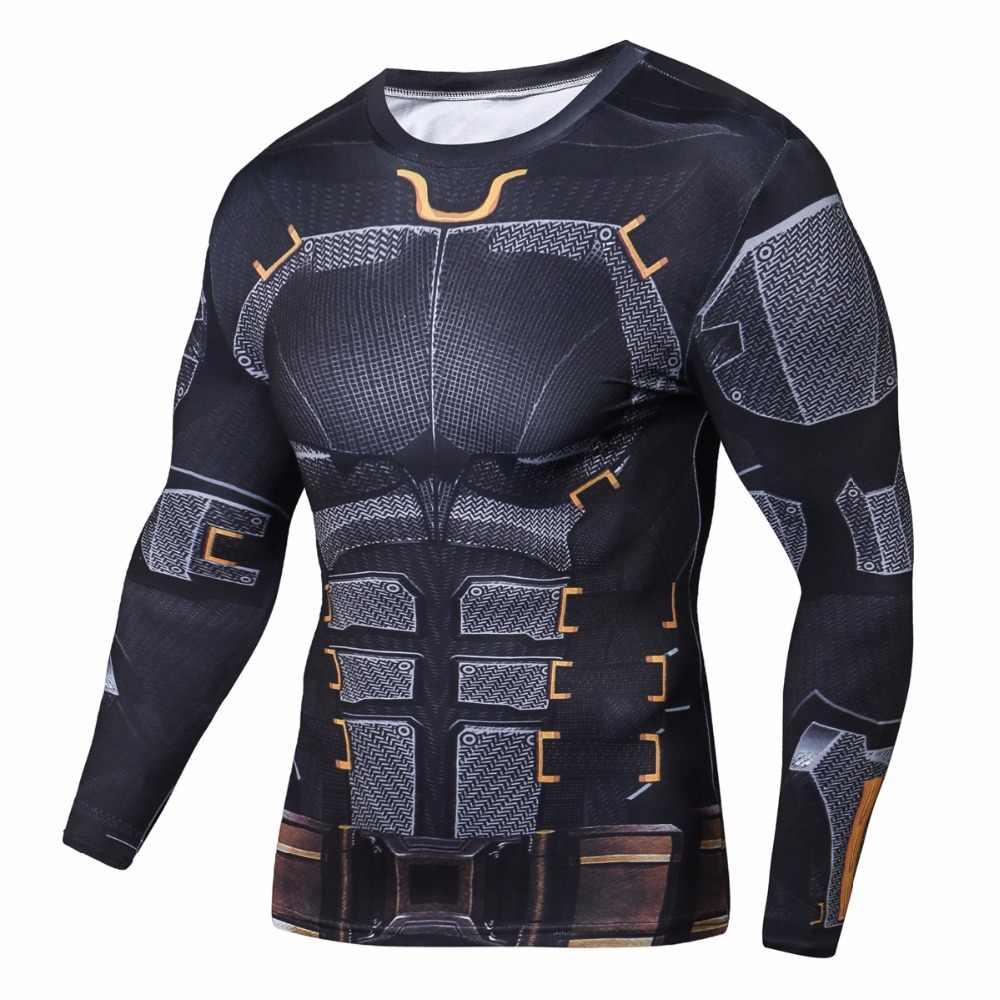 Новый ММА фитнес сжатия Мужская рубашка с длинным рукавом 3 d Супермен Футболка брендовая одежда чудо hero является Капитан Америка с длинным рукавом