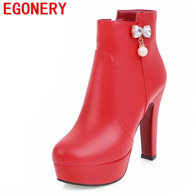 egonery fashion booties round toe platform high heels woman winter wedding pumps shoes side zipper thick heel party ankle boots winter platform square high heel ankle fashion boots bling side zipper round toe shoes woman gray red black