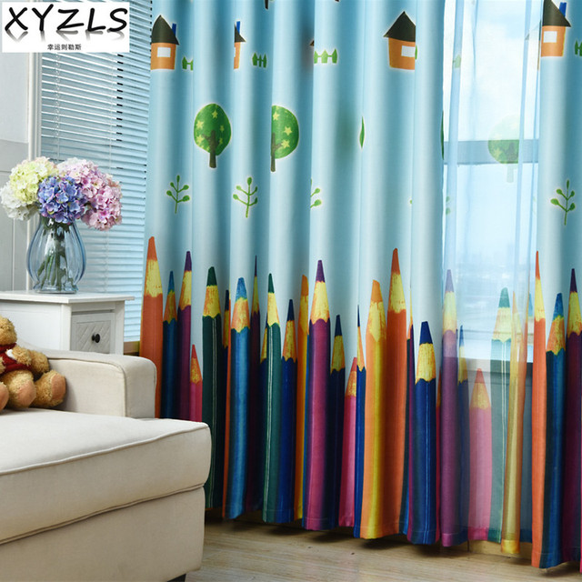 XYZLS Outlet Pencil Blinds Shade Curtains Smile Sun Sheer Tulle Curtain Blackout For Kids Living