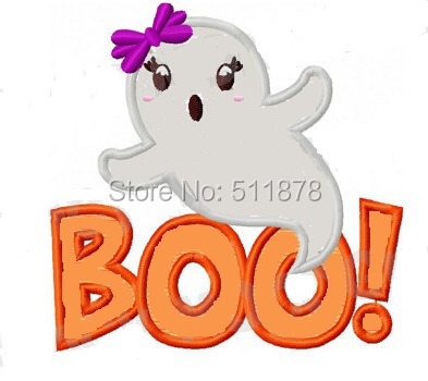 halloween ghost boo lovely kids children big embroidered iron on sew on patch tshirt applique badge