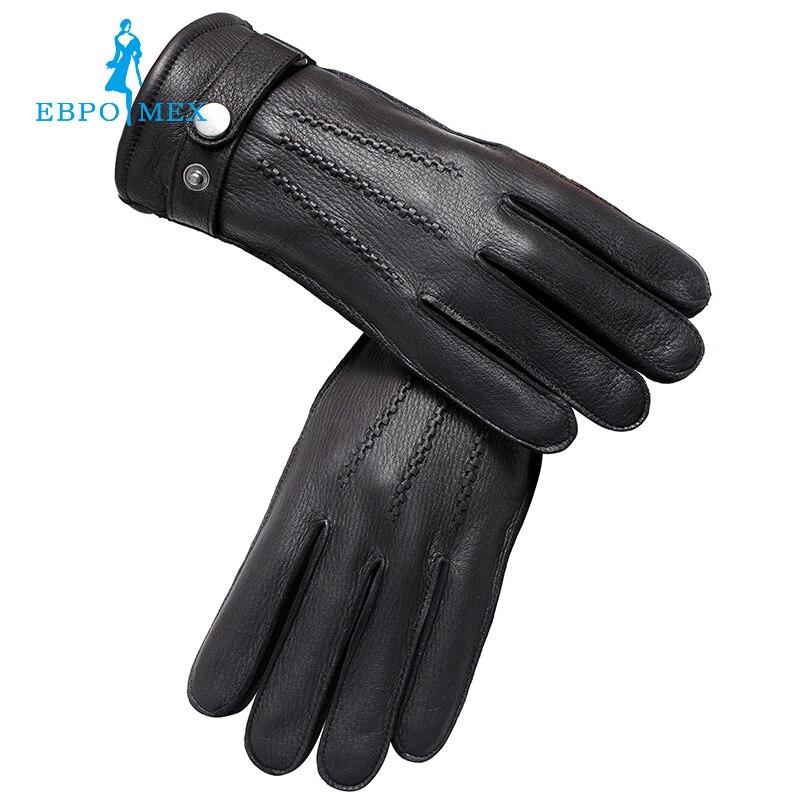 Gant en cuir véritable gants de luxe hommes gants en cuir de mode populaire hiver dur gars gants hommes noir Snap design
