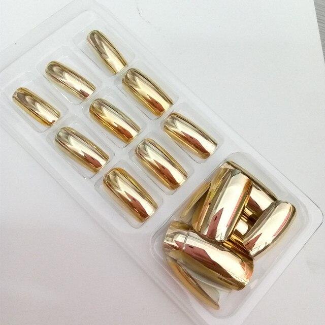 Espejo de Metal Uñas Postizas Decoradas Arte oro plata uñas ...