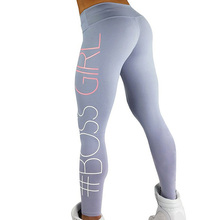Printed BOSS GIRL Workout Push Up Leggings Women Pants Slim Cotton Fitness Legging Plus Size Legins