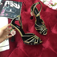 YIFSION New Black Pink Genuine Leather Floral Women Summer Sandals Open Toe Buckle Strap Thin High Heel Shoes Woman