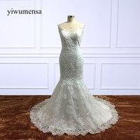 yiwumensa Luxury Mermaid Wedding Dresses 2018 Lace Customize Backless Appliques Bridal Gown dresses Train Vestidos De Noiva