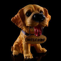 Cute Dog Resin Craft Figurines Hotel Shop Open Decoration Welcome Dogs Table Decoration Ornaments Miniatures Decoration Crafts
