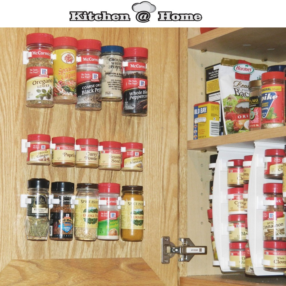 Kitchen Cabinet Spice Rack Organizer: Plastic Spice Gripper Wall Rack Storage Holders Flavoring