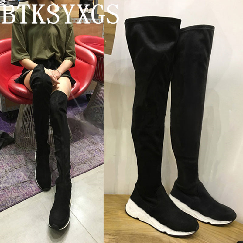 2017 High elastic Women's sexy Over the Knee Long boots leather Fashion Thick Bottom Thigh High Flat boots Woman winter shoes 2017 sexy thick bottom women s over the knee snow boots leather fashion ladies winter flats shoes woman thigh high long boots