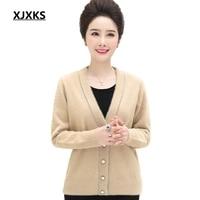 XJXKS sueter mujer invierno truien dames single breasted stretch women cardigan sweater button design fuzzy women sweater coat