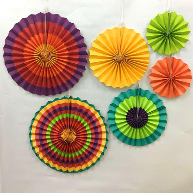 Us 5 89 11 Off 6pcs Large Size Paper Color Paper Fan Pure Hand Made Wedding Holiday Party Home Decoration Paper Flower Diy Handmade Craft In Party