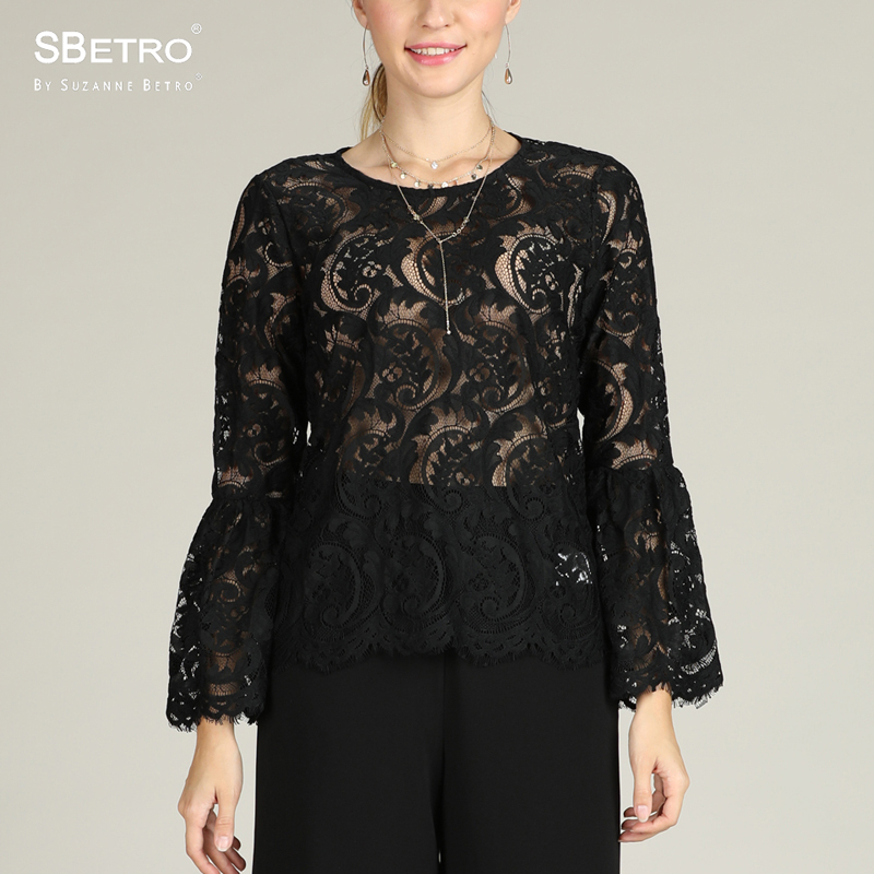 SBetro By Suzanne Betro Lace Women   Blouse   Black Crew Neck Fashion Tops Long Bell Sleeve Party Tunic Top Ladies   Blouses     Shirts