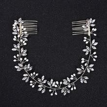 SLBRIDAL Wired Rhinestone Crystal Freshwater Pearls Wedding Headband Bridal Hair Vine Accessories Bridesmaids Women Jewelry