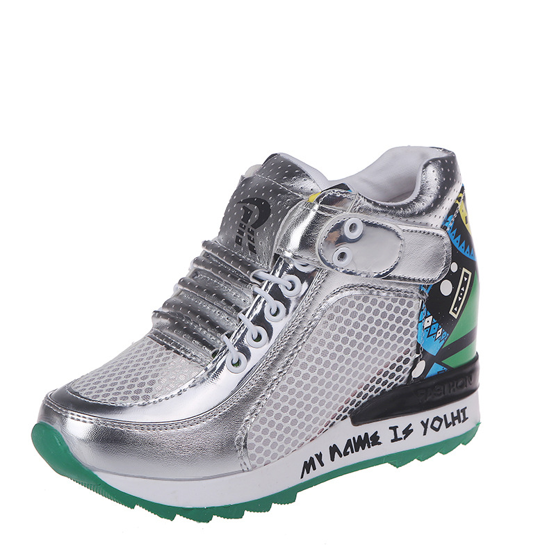 2019 spring and summer new women's shoes increased net shoes wild breathable mesh surface hollow leisure sports wedge 15