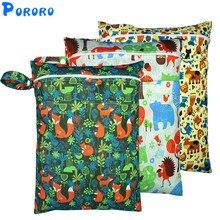Печати PUL мешок мокрой водонепроницаемые тканевые подгузники сумка с двойным карманом Многоразовые детские подгузники мусора мешок мокрой за кожей Буд детские сумки для подгузников для мам