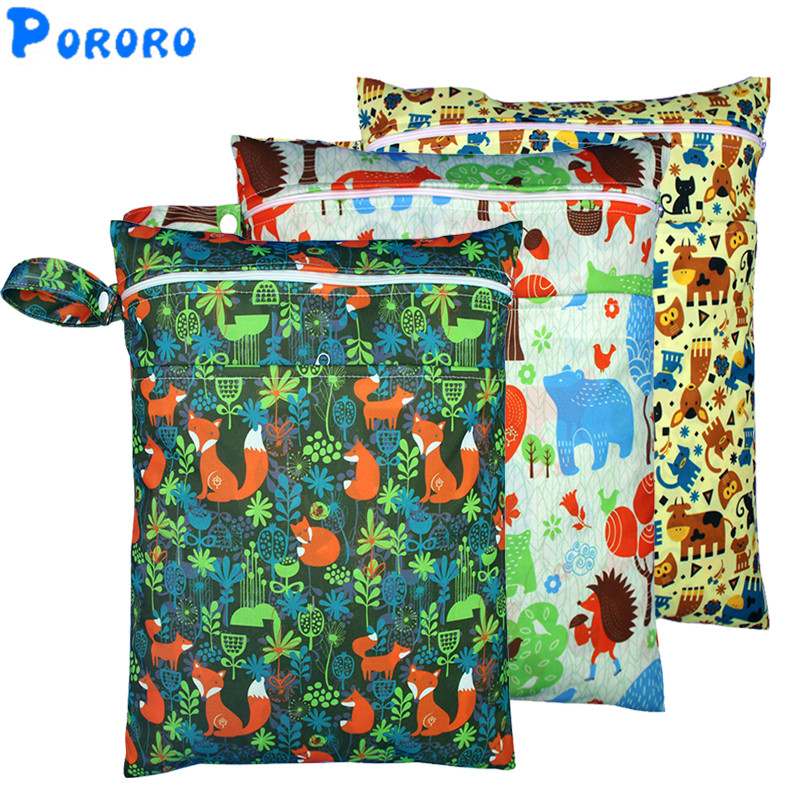 Print PUL Wet Bag  Waterproof Cloth Diaper Bag Double Pocket Reusable Baby Nappy Rubbish Wet Bag Wetbags Baby Bags For Mom