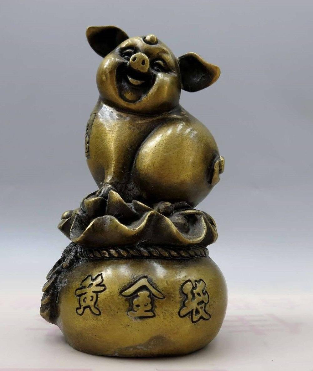 6 Китайская латунная медная резная сумка lucky Gold make a fortune фигурка свиньи статуя