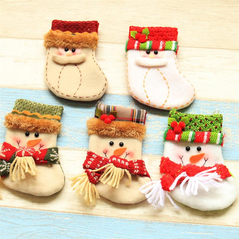 Christmas Stocking Christmas Decorations Large Christmas Stockings Gift Candy Bags Socks Khaki Deer Embroidered Cute Characters