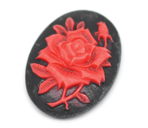 20Pcs Red Flower Resin Beads Decoration Crafts Flatback Cabochon Scrapbooking Fit Phone Embellishments Diy Accessories
