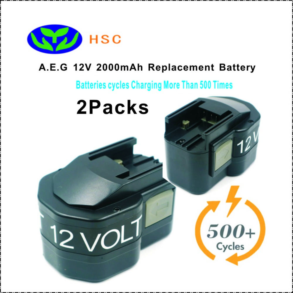 2PCS 2 0Ah rechargeable battery pack AEG12A NiCAD Battery 12V Replacement AEG BS12X BX12 BXL12 BXS12