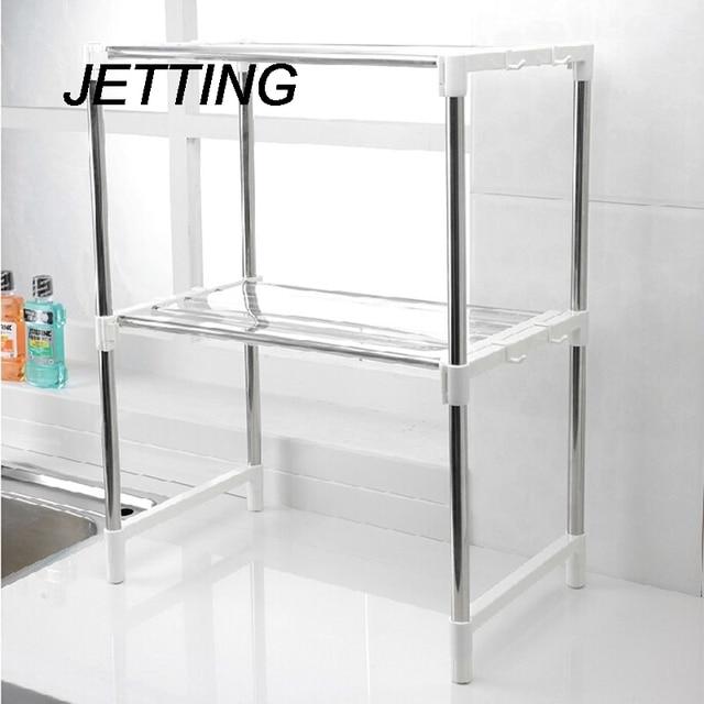 Jetting multifuncional de horno de microondas estante acero inoxidable ajustable pie tipo doble - Estante microondas ...