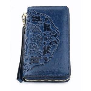 Image 4 - COMFORSKIN uzun Vintage püskül bayan cüzdan Premium hakiki deri benzersiz kabartma çiçek kadın fermuarlı çantalar el halat ile
