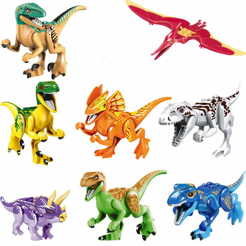 Mới 8 cái/bộ Jurassic Park Khủng Long Thế Giới Công Viên Hành Động Con Số Legoings Khối Đồ Chơi cho Trẻ Em Món Quà Giáng Sinh