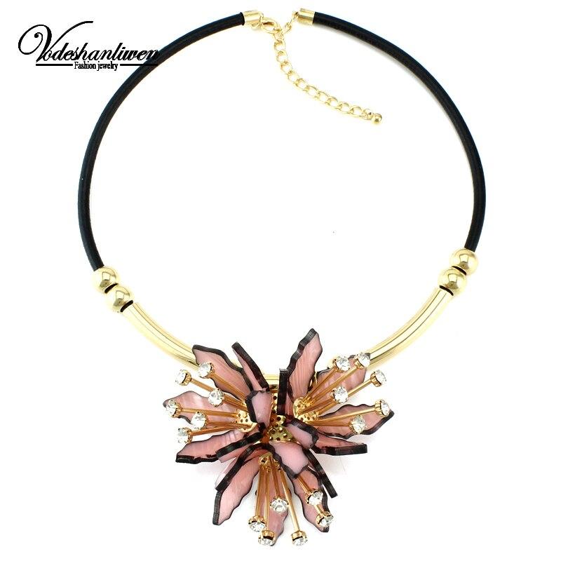 Vodeshanliwen New Arrival Charm Women Flower Necklaces & Pendants Luxury Rhinestone Jewelry Handcraft Collar Statement Necklace rhinestone frangipani flower necklace