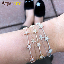 Trendy Zirconia Crystal Stars Slave Chain Bracelet for Women Finger Hand Silver color Stars Charm Bracelets Delicate CZ bracelet(China)