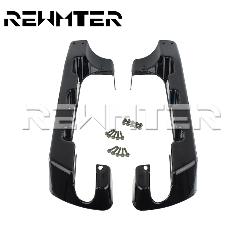 Motorcycle 4 Hard Stretched Saddle Bag Extensions Black For Harley Touring Electra Glide Road Glide King 1994 2013 2014 2017